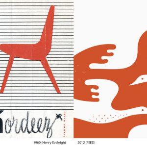 À gauche : Image tirée d'un dépliant publicitaire de, Henry Eveleigh, Kordeez, vers 1955 À droite : Image tirée de l'identité de Air Inuit par Feed, (illustration : Stéphane Poirier), 2011