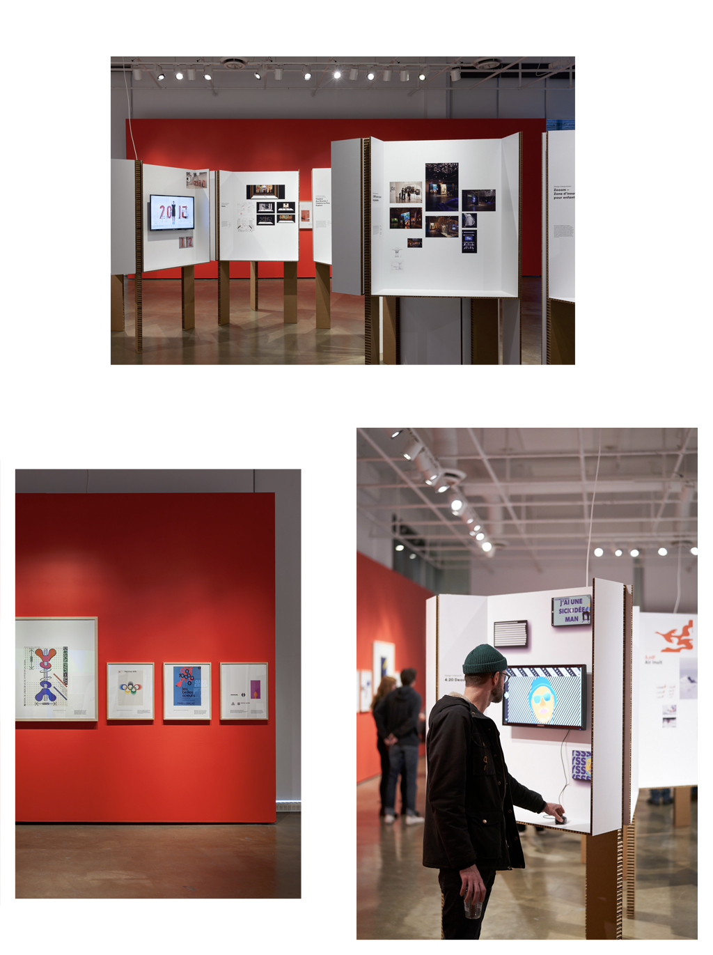 Photographies de de l'exposition Le design graphique, ça bouge ! présentée au Centre de design de l'UQAM en 2019/2020. Crédit photo : Michel Brunelle