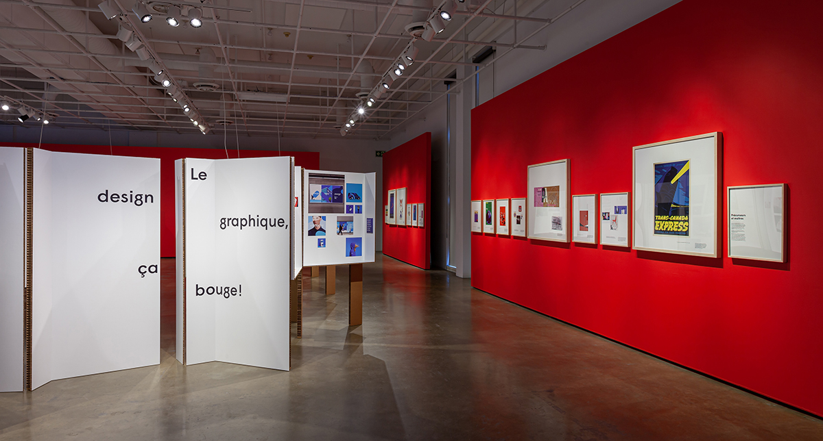 Photo de l'exposition Le design graphique, ça bouge ! présentée en 2019/2020 au Centre de design de l'UQAM. Crédit Photo Michel Brunelle
