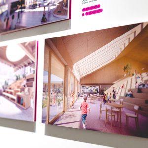 """Photos de l'exposition """"Devoirs d'architecture"""" présentée au Centre de design de l'UQAM du 24 sept. au 22 nov. 2020. Crédit Photo : Dominique Viau"""
