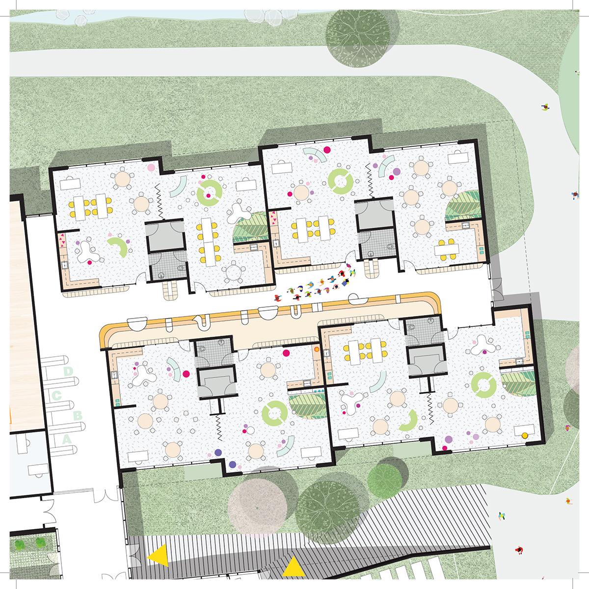 Plan d'une salle de classe par BTAA et SID LEE Architecture, pour le concours du Lab-École à Gatineau, présenté dans le cadre de l'exposition «Devoirs d'architecture».