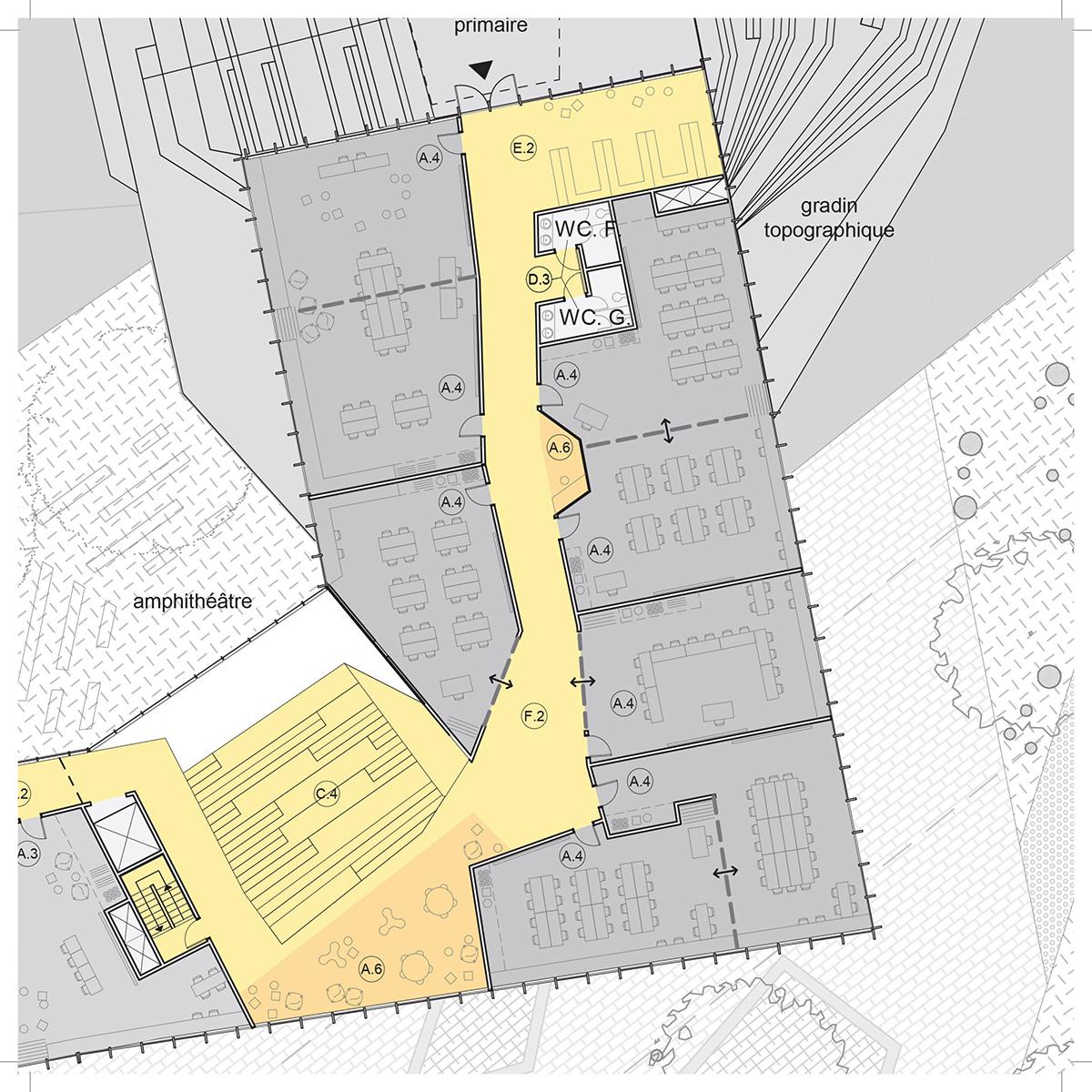 Plan d'une salle de classe par DMA Architectes, pour le concours du Lab-École à Gatineau, présenté dans le cadre de l'exposition «Devoirs d'architecture».