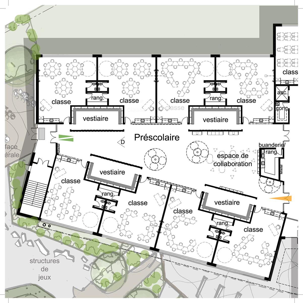 Plan d'une salle de classe par LRAA et ACSL, pour le concours du Lab-École à Gatineau, présenté dans le cadre de l'exposition «Devoirs d'architecture».