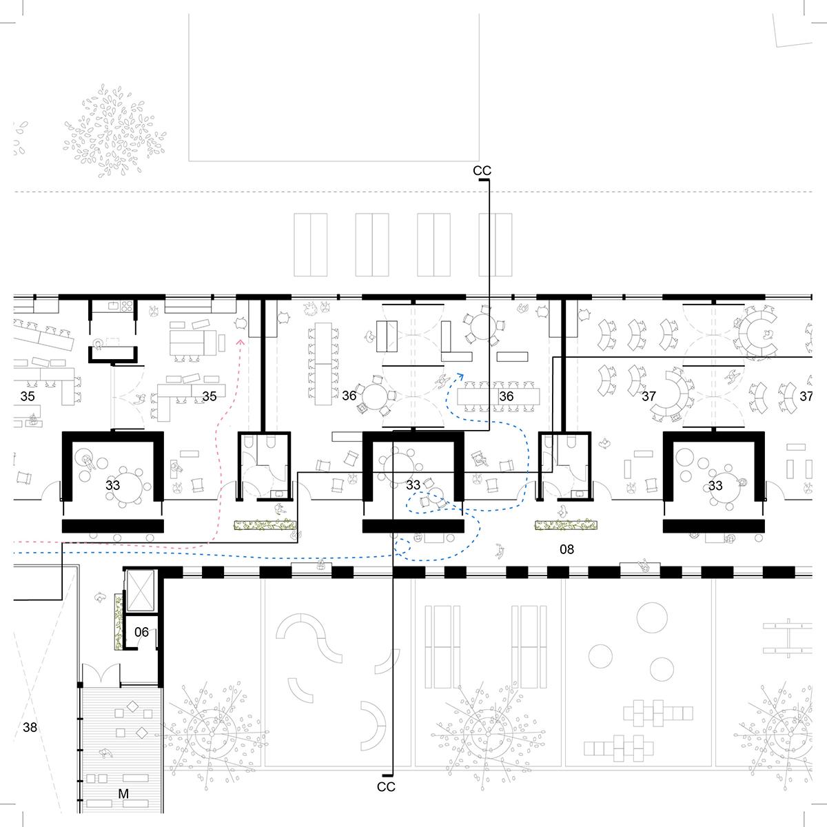 Plan d'une salle de classe par AUpoint et Patriarche Canada, pour le concours du Lab-École à Maskinongé, présenté dans le cadre de l'exposition «Devoirs d'architecture».