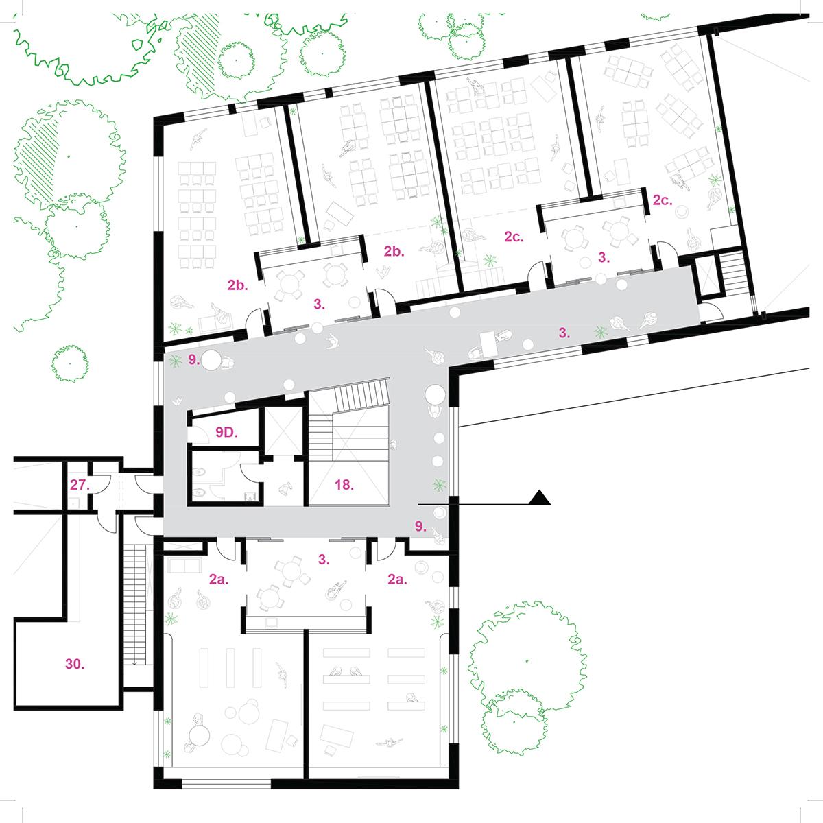 Plan d'une salle de classe par Lucie Paquet et Paulette Taillefer et Leclerc Architectes, pour le concours du Lab-École à Maskinongé, présenté dans le cadre de l'exposition «Devoirs d'architecture».
