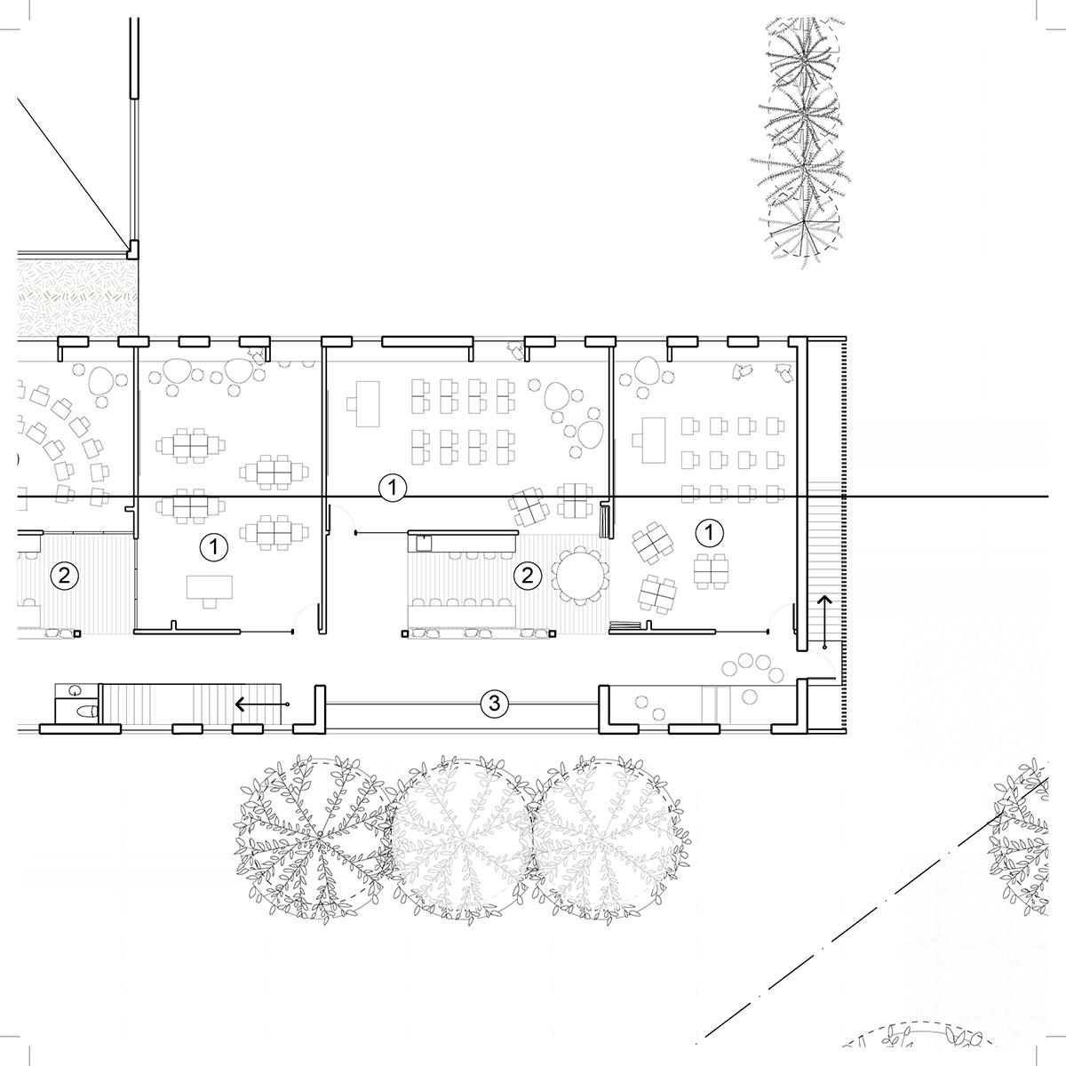 Plan d'une salle de classe par STGM Architectes, pour le concours du Lab-École à Maskinongé, présenté dans le cadre de l'exposition «Devoirs d'architecture».