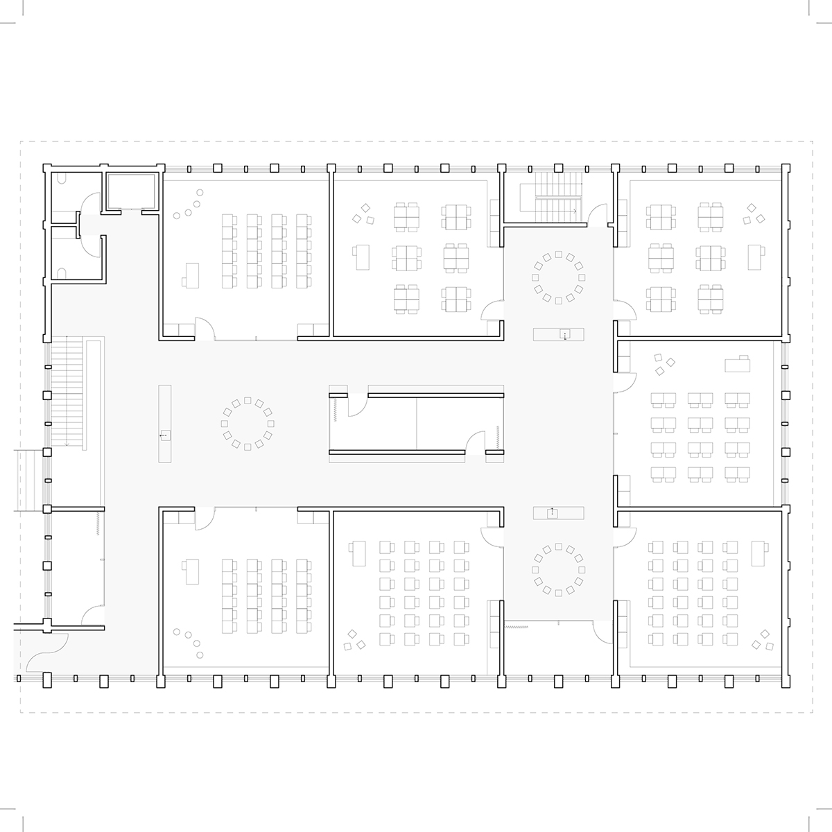 Plan d'une salle de classe par Table Architecture et Durand Courchesne et Heloïse Thibodeau Architecte, pour le concours du Lab-École à Maskinongé, présenté dans le cadre de l'exposition «Devoirs d'architecture».