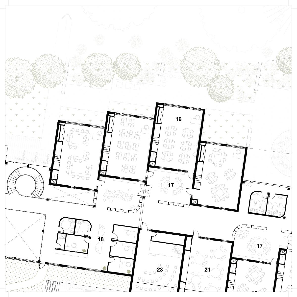 Plan d'une salle de classe par Boon Architecture et Héloïse Thibodeau architecte et Goulet & LeBel architectes, pour le concours du Lab-École à Rimouski, présenté dans le cadre de l'exposition «Devoirs d'architecture».