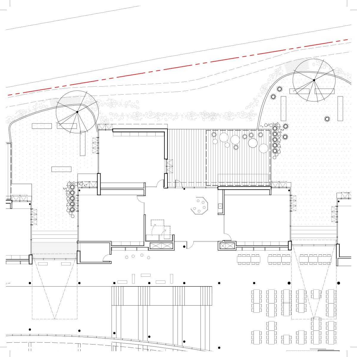 Plan d'une salle de classe par Lapointe Magne et associés et L'OEUF, pour le concours du Lab-École à Rimouski, présenté dans le cadre de l'exposition «Devoirs d'architecture».