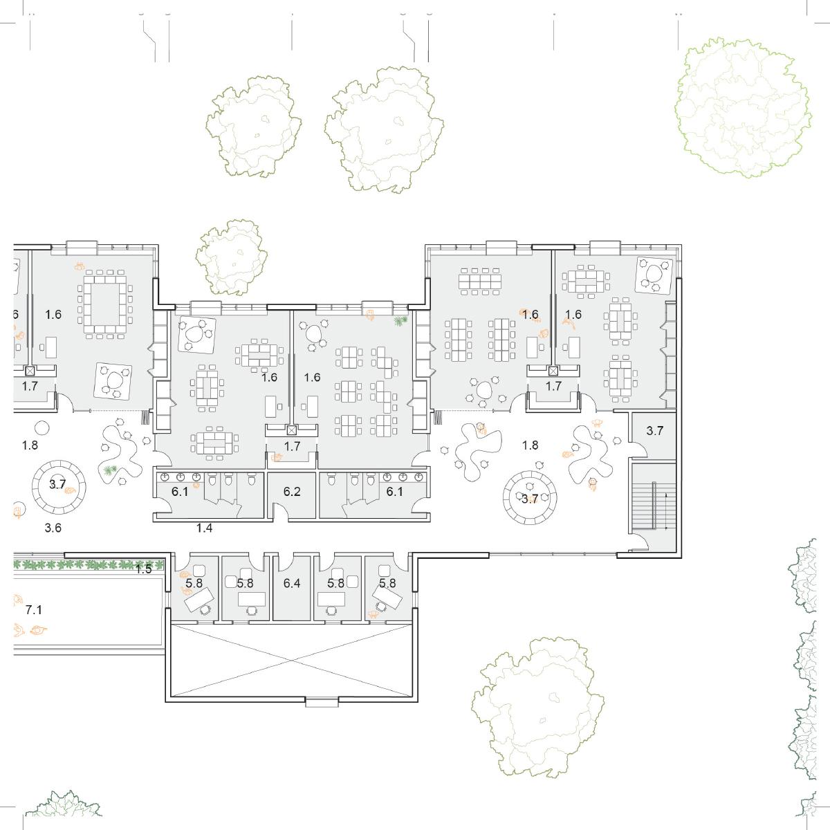 Plan d'une salle de classe par STGM-Architectes et ProulxSavard-architectes, pour le concours du Lab-École à Rimouski, présenté dans le cadre de l'exposition «Devoirs d'architecture».