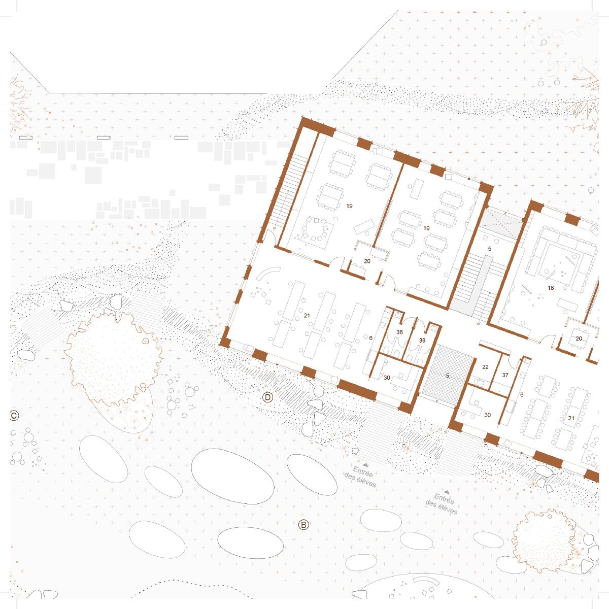 Plan d'une salle de classe par Étienne Bernier Architecture et BGLA, pour le concours du Lab-École à Saguenay, présenté dans le cadre de l'exposition «Devoirs d'architecture».