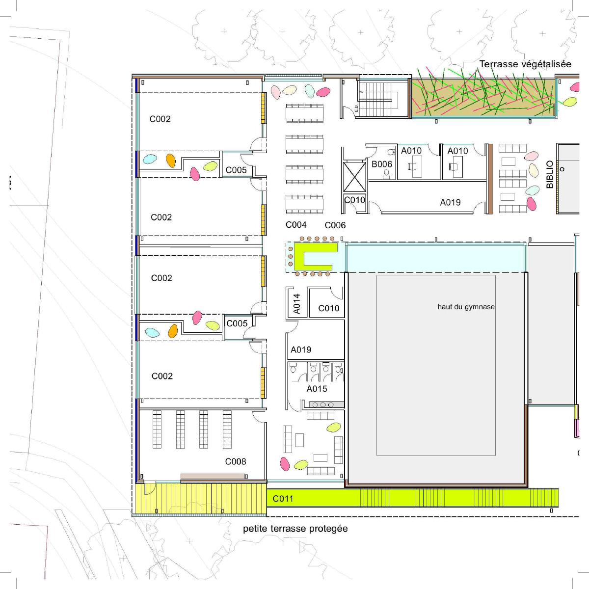 Plan d'une salle de classe par Atelier Big City et Groupe Conseil Planitech, pour le concours du Lab-École à Saguenay, présenté dans le cadre de l'exposition «Devoirs d'architecture».
