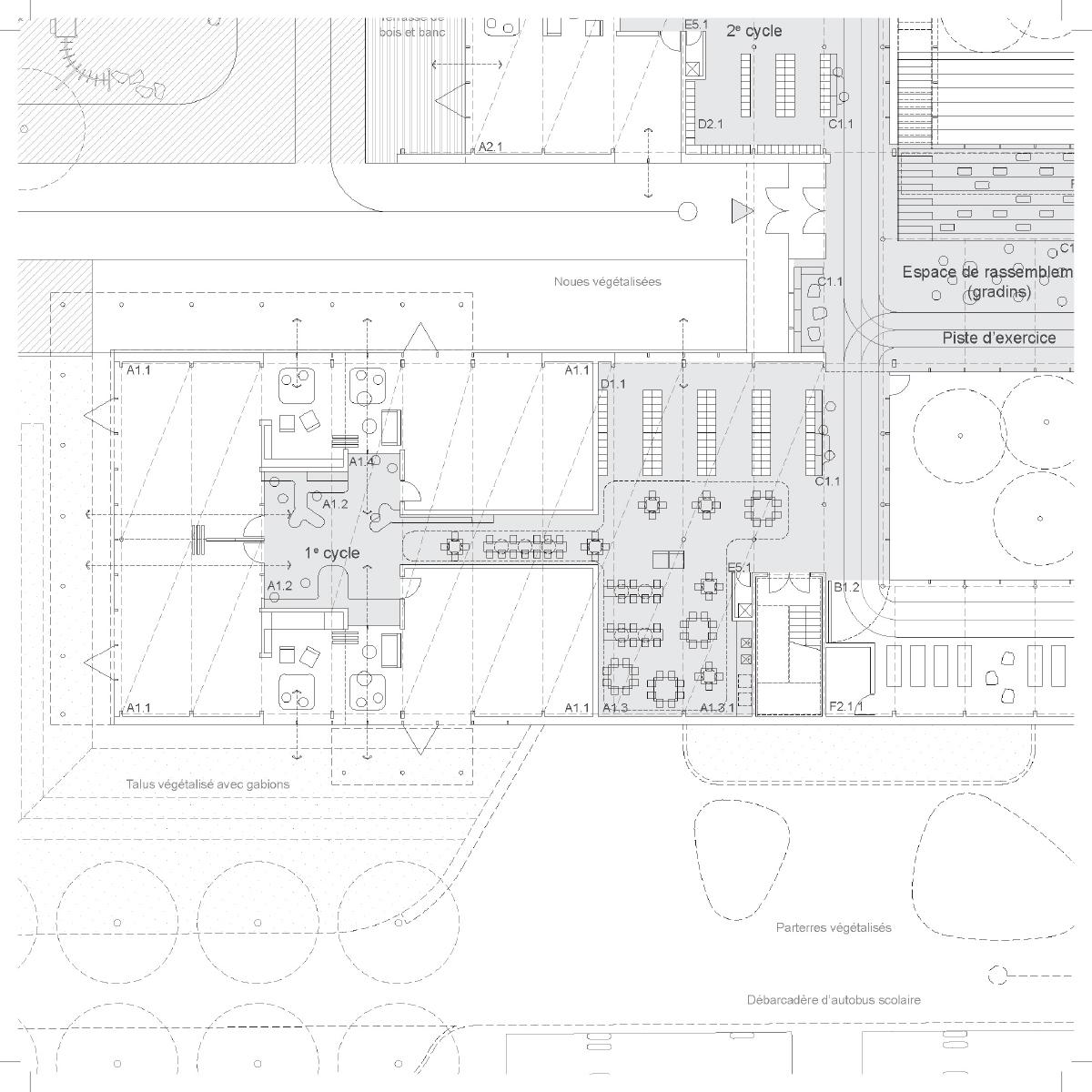 Plan d'une salle de classe par Chevalier Morales architectes, pour le concours du Lab-École à Saguenay, présenté dans le cadre de l'exposition «Devoirs d'architecture».