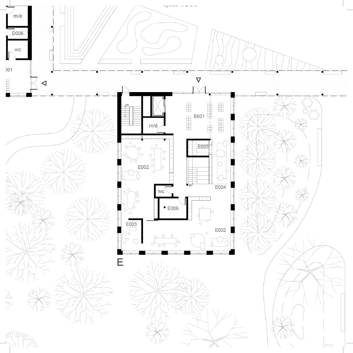 Plan d'une salle de classe par Alexandre Landry Architecte et Jodoin Lamarre Pratte, pour le concours du Lab-École à Shefford, présenté dans le cadre de l'exposition «Devoirs d'architecture».