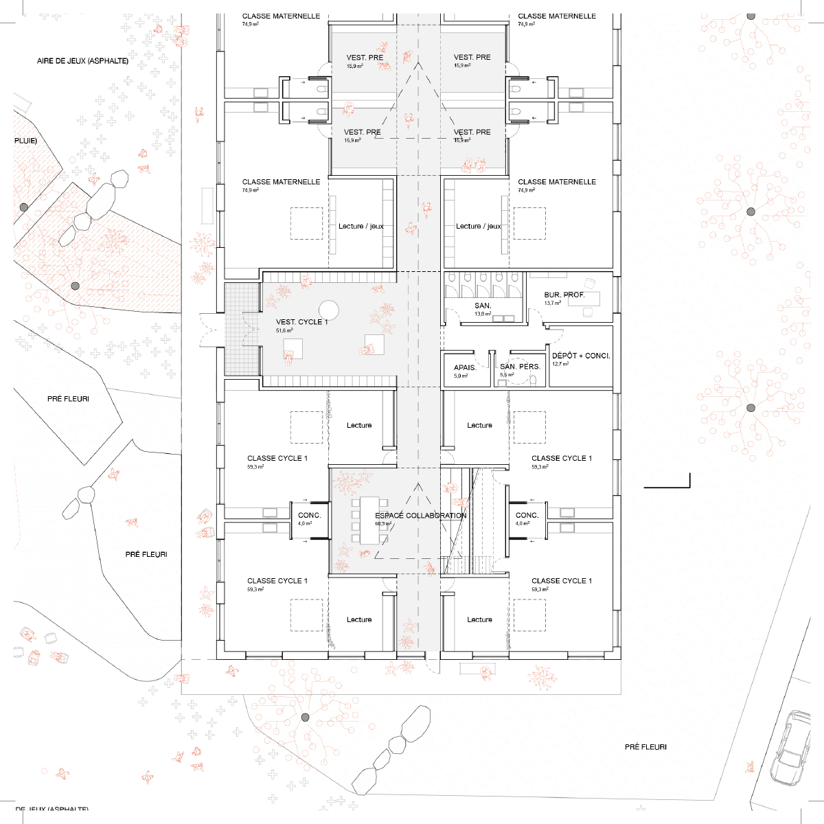 Plan d'une salle de classe par Pelletier de Fontenay et Leclerc Architectes, pour le concours du Lab-École à Shefford, présenté dans le cadre de l'exposition «Devoirs d'architecture».