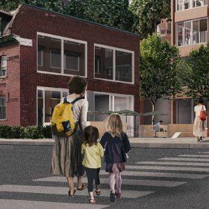 Image d'entête réalisée par Anne-Frédéric Blais, Jeremy Chui et Basile Van Laer pour le concours du Entre l,école et la ville, présenté dans l'exposition «Devoirs d'architecture» au Centre de design en 2020.