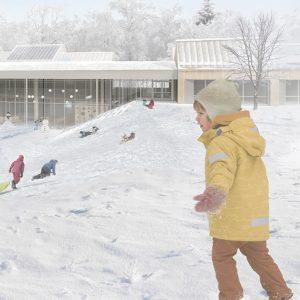 Image d'entête réalisée par Boon Architecture pour le concours du Lab-École à Rimouski, présenté dans l'exposition «Devoirs d'architecture» au Centre de design en 2020.