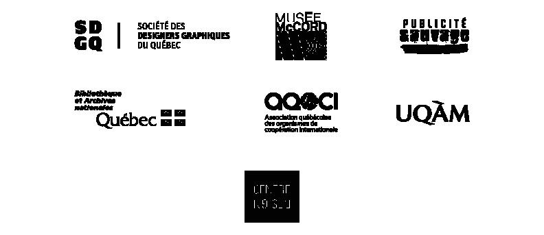 Logos des partenaires de la Bourse SDGQ / Marc H. Choko : SDGQ; Musée McCord; Publicité sauvage; BANQ; AQOCI; UQAM; Centre de design