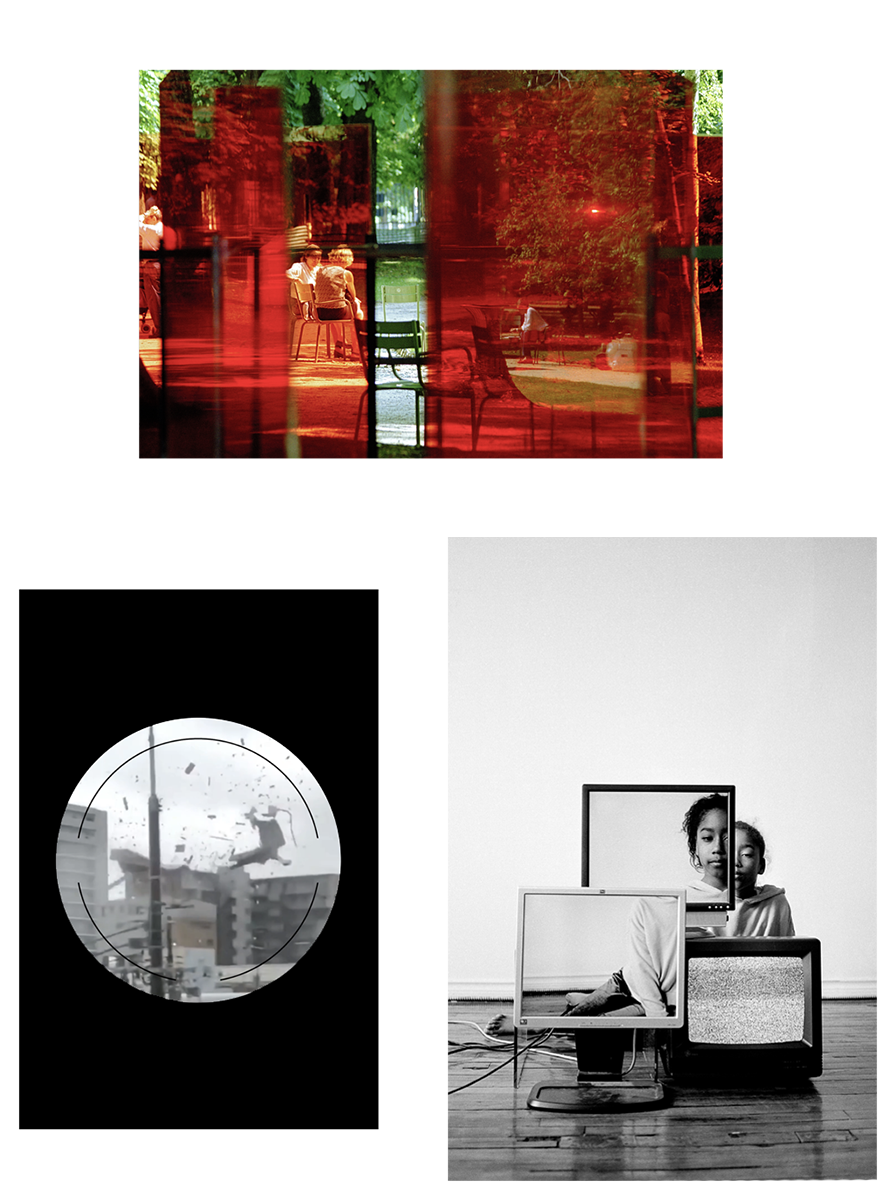 Image en haut : JB408-26, non daté, Jean Baudrillard, avec l'aimable autorisation de Marine Baudrillard | Image à gauche : image extraite de l'œuvre : Energy Goast, 2021, Mishka Henner + Vaseem Bhatti | Image à droite : photographie extraite de l'œuvre : Corps Abstraits, 2021, Charlie Doyon